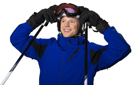 Young man skier isolated on white