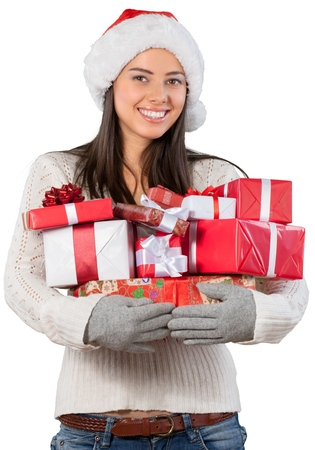 Young girl with christmas gifts isolated on white