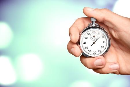 Close-upchronometer in menselijke hand, timer
