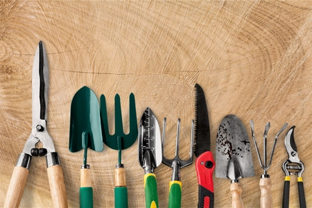 Garden Tools Top Border Stock Photo
