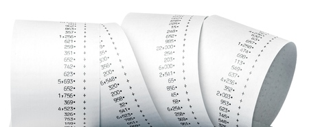 Calculator Paper Tape Rolled Up  Paper Roll of Numbers Stok Fotoğraf