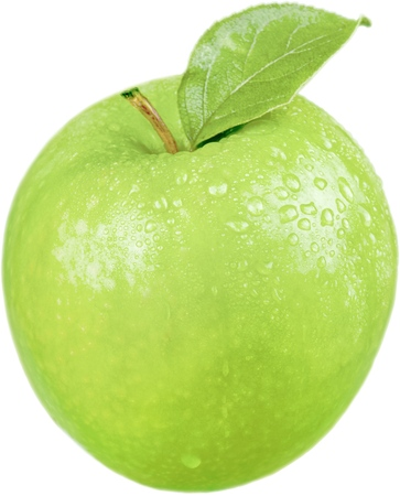 Green Apple With Leaf And Water Drops - Isolated Reklamní fotografie