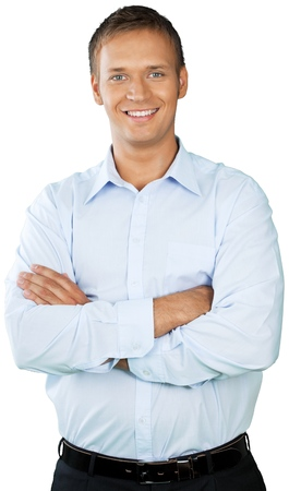 Professional looking man with his arms crossed wearing a button down shirt Stock Photo