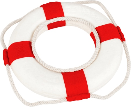Red life buoy isolated on white