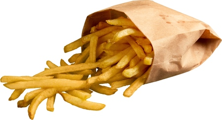 French Fries Falling Out Of Bag - Isolated