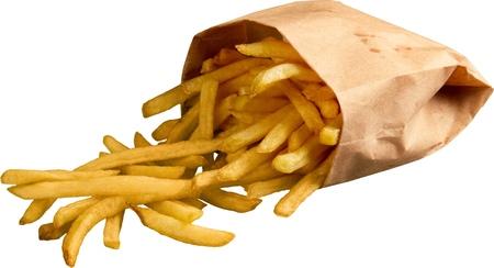 Frieten Uit Zak Vallen - Geïsoleerd Stockfoto
