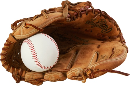 Baseball glove with a ball in it - isolated image Stock Photo
