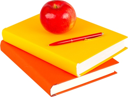 Stack of blank textbooks with an apple on top - isolated image Stock Photo