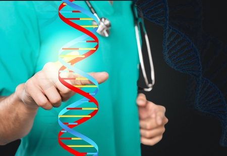 Doctor holding glowing DNA