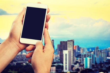 Using smart phone in city