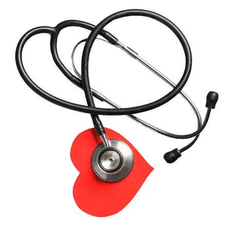 Medical stethoscope and red heart with cardiogram isolated on white. Cardiac therapeutics assistance, pulse beat measure document, arrhythmia pacemaker medical healthcare concept Stock Photo