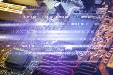Binary code on plate background Stock Photo