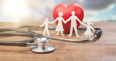 Family Cut-out  Medical Insurance Concept Archivio Fotografico