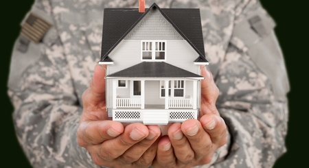 US Soldier with real estate 스톡 콘텐츠