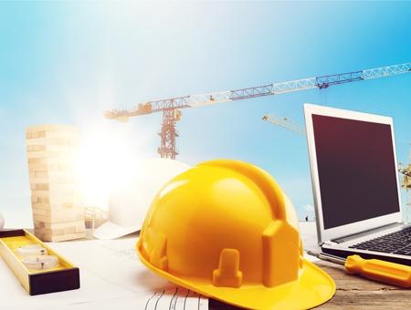 標準的な建設の安全および建設現場の背景。