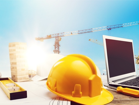 Standard construction safety and construction site background. Banco de Imagens