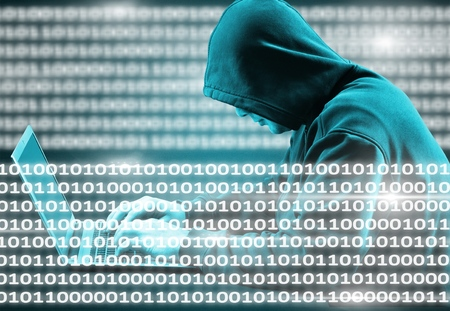 Internet crime concept. Hacker working on a code and stealing credit card with digital interface around. Stock Photo