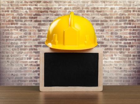 Safety helmet and black board emty