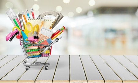 Mini supermarket cart and School Supplies
