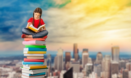 Reading for getting knowledge concept Stock Photo