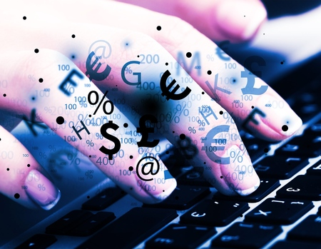 Business and Technology concept showing RANSOMWARE while the finger pressed button on the keyboard. Stock Photo