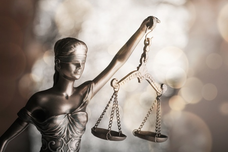 Statue of Justice symbol, legal law concept image