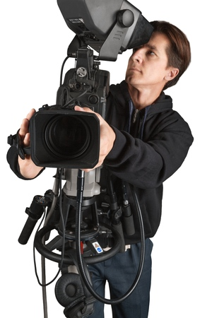 Closeup of a Camera Operator Filming