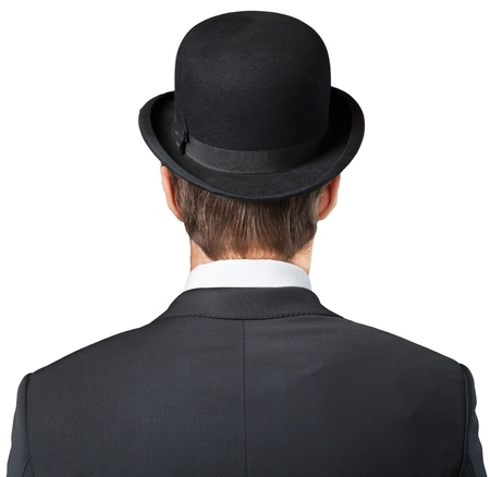 Businessman Wearing a Bowler Hat, Back View