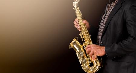 Saxophonist playing jazz music Stock Photo