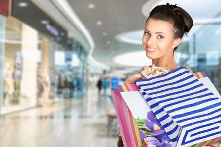 Woman holding shoping bag Stock Photo