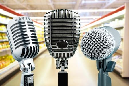 Three microphones on background