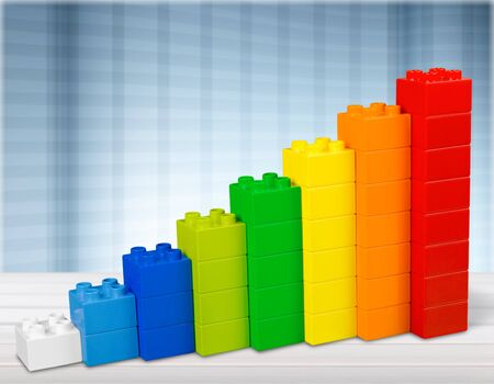 Toy Blocks Infographic Chart Stair Bar, Multicolor Kids Bricks on White Background