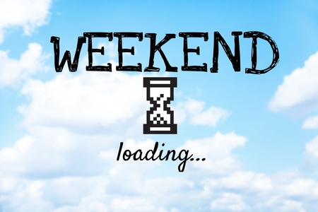Weekend loading word on beautiful blue sky and cloud 免版税图像