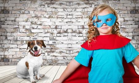 Hero with dog Stock Photo