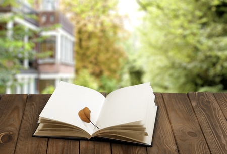 Open book on wood planks over outdoor natural background