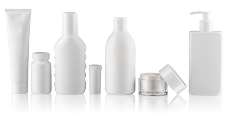 collection of  various beauty hygiene containers on white background. each one is shot separately