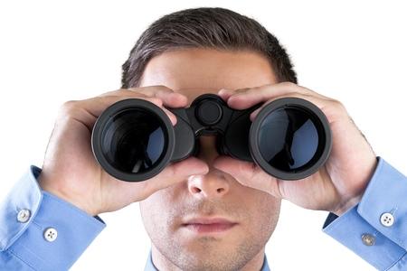 Closeup of a Businessman Using Binoculars