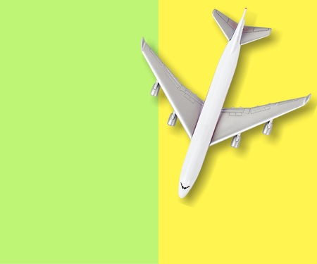 Tou plane on colorful background Stock Photo