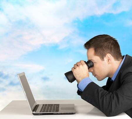 Watching at laptop