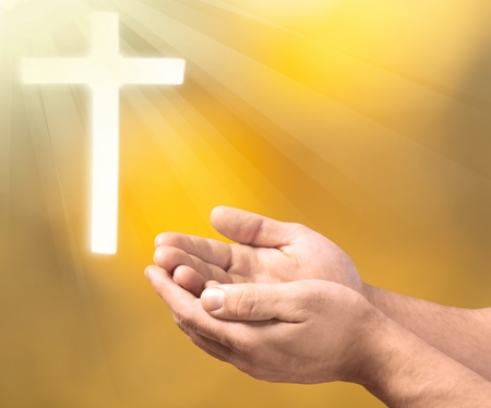 Human hands open palm up worship. Eucharist Therapy Bless God Helping Repent Catholic Easter Lent Mind Pray. Christian concept background. Standard-Bild - 95887104