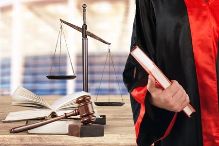 Judge on black background Stock Photo