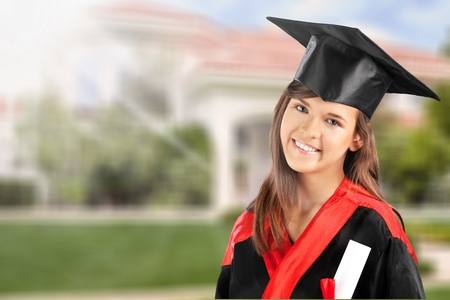Female student with diploma Stock Photo
