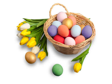 Colorful easter eggs isolated on white Stock Photo