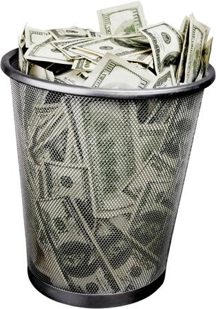 money in a garbage bin