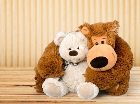 Teddy Bear Hug Isolated on White Stock Photo