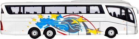 Toy or model charter bus Stock Photo
