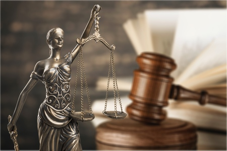 Lady justice, gavel, scales