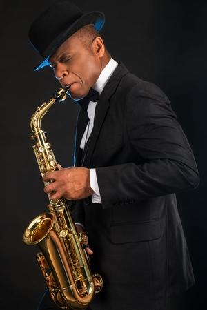 Man playing the Saxophone 스톡 콘텐츠