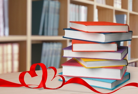 A pile of class books Stock Photo