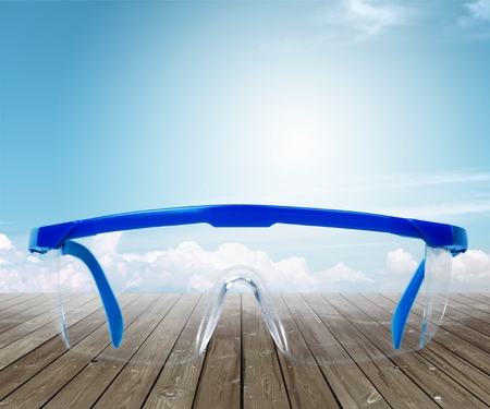 Safety glasses isolated on a white background. Banque d'images